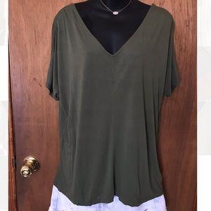 Old Navy Green V-Neck Shirt
